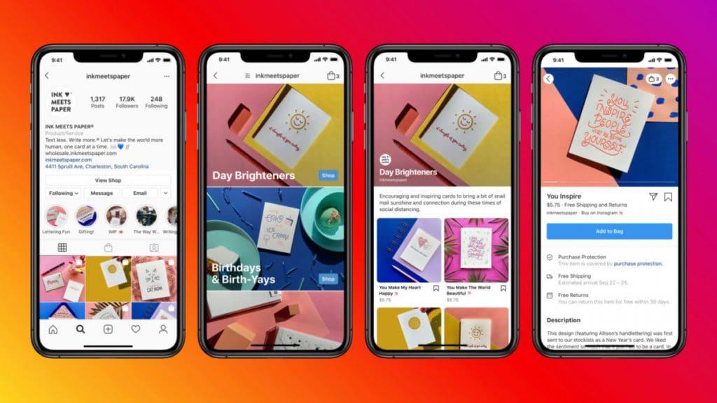 Instagram et Facebook Shop sont intégré au sein du réseau social pour faciliter l'achat d'articles.
